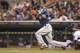 Sep 13, 2013; Minneapolis, MN, USA; Tampa Bay Rays center fielder Desmond Jennings (8) hits a RBI single in the second inning against the Minnesota Twins at Target Field. Mandatory Credit: Jesse Johnson-USA TODAY Sports