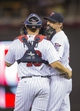 Sep 13, 2013; Minneapolis, MN, USA; Minnesota Twins starting pitcher Kevin Correia (30) talks to catcher Josmil Pinto (43) during the fifth inning against the Tampa Bay Rays at Target Field. Mandatory Credit: Jesse Johnson-USA TODAY Sports