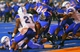 Sep 13, 2013; Boise, ID, USA; Boise State Broncos running back Jay Ajayi (27) scores a touchdown during the second half against the Air Force Falcons at Bronco Stadium. Boise State defeated the Air Force 42-20. Mandatory Credit: Brian Losness-USA TODAY Sports