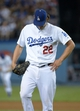 Sep 13, 2013; Los Angeles, CA, USA; Los Angeles Dodgers pitcher Clayton Kershaw (22) reacts during the game against the San Francisco Giants at Dodger Stadium. The Giants defeated the Dodgers 4-2. Mandatory Credit: Kirby Lee-USA TODAY Sports