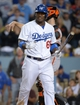 Sep 13, 2013; Los Angeles, CA, USA; Los Angeles Dodgers right fielder Yasiel Puig (66) reacts after striking out in the ninth inning against the San Francisco Giants at Dodger Stadium. The Giants defeated the Dodgers 4-2. Mandatory Credit: Kirby Lee-USA TODAY Sports