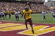 Sep 14, 2013; Minneapolis, MN, USA; Minnesota Golden Gophers wide receiver Logan Hutton (17) catches a two point conversation in the third quarter against the Western Illinois Leathernecks at TCF Bank Stadium. The Gophers won 29-12. Mandatory Credit: Jesse Johnson-USA TODAY Sports