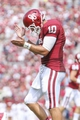 Sep 14, 2013; Norman, OK, USA; Oklahoma Sooners quarterback Blake Bell (10) reacts during the game against the Tulsa Golden Hurricane at Gaylord Family - Oklahoma Memorial Stadium. Mandatory Credit: Kevin Jairaj-USA TODAY Sports