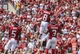 Sep 14, 2013; Norman, OK, USA; Oklahoma Sooners wide receiver Jalen Saunders (8) celebrates scoring a touchdown with teammates during the second half against the Tulsa Golden Hurricane at Gaylord Family - Oklahoma Memorial Stadium. Mandatory Credit: Kevin Jairaj-USA TODAY Sports