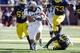 Sep 14, 2013; Ann Arbor, MI, USA; Akron Zips running back Conor Hundley (34) runs the ball in the fourth quarter against the Michigan Wolverines at Michigan Stadium. Michigan won 28-24. Mandatory Credit: Rick Osentoski-USA TODAY Sports