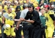 Sep 14, 2013; Eugene, OR, USA; Oregon Ducks head coach Mark Hilfrich gestures to the officials in the first quarter against the Tennessee Volunteers at Autzen Stadium. Mandatory Credit: Scott Olmos-USA TODAY Sports
