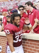 Sep 14, 2013; Norman, OK, USA; Oklahoma Sooners fullback Trey Millard (33) reacts after the victory against the Tulsa Golden Hurricane at Gaylord Family - Oklahoma Memorial Stadium. Mandatory Credit: Kevin Jairaj-USA TODAY Sports