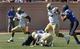 Sep 14, 2013; Durham, NC, USA; Georgia Tech Yellow Jackets running back B.J. Bostic (7) picks up yardage against the Duke Blue Devils at Wallace Wade Stadium. Mandatory Credit: Mark Dolejs-USA TODAY Sports