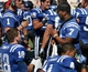 Sep 14, 2013; Durham, NC, USA; Duke Blue Devils injured quarterback Anthony Boone (7) talks with quarterback Brandon Connette (18) on the sidelines of their game against the Georgia Tech Yellow Jackets at Wallace Wade Stadium. Mandatory Credit: Mark Dolejs-USA TODAY Sports