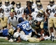 Sep 14, 2013; Durham, NC, USA; Georgia Tech Yellow Jackets running back Synjyn Days (10) moves the ball against the Duke Blue Devils defense at Wallace Wade Stadium. Mandatory Credit: Mark Dolejs-USA TODAY Sports