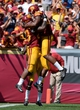 Sep 14, 2013; Los Angeles, CA, USA; USC Trojans running back Tre Madden (23) celebrates his third quarter touchdown with tight end Xavier Grimble (86) in the 3rd quarter against the Boston College Eagles at Los Angeles Memorial Coliseum.  Mandatory Credit: Robert Hanashiro-USA TODAY Sports