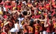 Sep 14, 2013; Los Angeles, CA, USA; USC fans celebrate a touchdown by Justin Davis (not pictured) in the fourth quarter against the Boston College at Los Angeles Memorial Coliseum. The Trojans went on to a 35-7 win.
