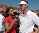 Sep 14, 2013; Los Angeles, CA, USA; Pac-12 Network sideline reporter Drea Avent (left) interviews Southern California Trojans coach Lane Kiffin after the game against the Boston College Eagles at Los Angeles Memorial Coliseum. Mandatory Credit: Kirby Lee-USA TODAY Sports