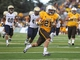 Sep 14, 2013; Laramie, WY, USA; Wyoming Cowboys running back Shaun Wick (21) runs for a touchdown against the Northern Colorado Bears during the fourth quarter at War Memorial Stadium. Mandatory Credit: Troy Babbitt-USA TODAY Sports