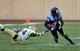 Sep 14, 2013; Durham, NC, USA; Georgia Tech Yellow Jackets defensive back Jemea Thomas (14) hangs on as Duke Blue Devils wide receiver Jamison Crowder (3) gains yardage at Wallace Wade Stadium. Mandatory Credit: Mark Dolejs-USA TODAY Sports