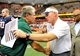 Sep 14, 2013; Syracuse, NY, USA; Wagner Seahawks head coach Walt Hameline (left) and Syracuse Orange head coach Scott Shafer (right) shake hands following the game at the Carrier Dome.  Syracuse defeated Wagner 54-0.  Mandatory Credit: Rich Barnes-USA TODAY Sports