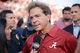 Sep 14, 2013; College Station, TX, USA; Alabama Crimson Tide head coach Nick Saban gives an interview against the Texas A&M Aggies after the game at Kyle Field. Alabama Crimson Tide beat the Texas A&M Aggies 49-42. Mandatory Credit: Thomas Campbell-USA TODAY Sports