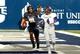Sep 14, 2013; Logan, UT, USA; Utah State Aggies tight end D.J. Tialavea (91) celebrates scoring a touchdown during the first quarter at Romney Stadium. Mandatory Credit: Chris Nicoll-USA TODAY Sports