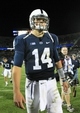 Sep 14, 2013; University Park, PA, USA; Penn State Nittany Lions quarterback Christian Hackenberg (14) walks off the field following the completion of the game against the Central Florida Knights at Beaver Stadium. Central Florida defeated Penn State 34-31. Mandatory Credit: Matthew O'Haren-USA TODAY Sports
