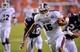 Sep 14, 2013; Auburn, AL, USA; Mississippi State Bulldogs quarterback Dak Prescott (15) runs the ball in the second half against the Auburn Tigers at Jordan Hare Stadium. Mandatory Credit: Shanna Lockwood-USA TODAY Sports