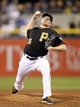 Sep 14, 2013; Pittsburgh, PA, USA; Pittsburgh Pirates relief pitcher Mark Melancon (35) delivers a pitch against the Chicago Cubs during the ninth inning at PNC Park. The Pittsburgh Pirates won 2-1. Mandatory Credit: Charles LeClaire-USA TODAY Sports