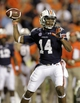 Sep 14, 2013; Auburn, AL, USA; Auburn Tigers quarterback Nick Marshall (14) throws a pass against the Mississippi State Bulldogs during the second half at Jordan Hare Stadium.  The Tigers beat the Bulldogs 24-20.  Mandatory Credit: John Reed-USA TODAY Sports