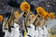 Sep 14, 2013; Berkeley, CA, USA; Cheerleaders for the California Golden Bears perform during action against the Ohio State Buckeyes in the fourth quarter at Memorial Stadium. The Buckeyes defeated the Golden Bears 52-34. Mandatory Credit: Cary Edmondson-USA TODAY Sports