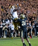 Sep 14, 2013; West Lafayette, IN, USA; Notre Dame Fighting Irish wide receiver DaVaris Daniels (10) catches a touchdown pass over Purdue Boilermakers cornerback Antoine Lewis (26) in the fourth quarter at Ross-Ade Stadium. Notre Dame won 31-24. Mandatory Credit: Matt Cashore-USA TODAY Sports