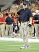 Sep 14, 2013; Tucson, AZ, USA; Arizona Wildcats head coach Rich Rodriguez reacts to a call during the third quarter against the Texas-San Antonio Roadrunners at Arizona Stadium. The Wildcats defeated the Roadrunners 38-13. Mandatory Credit: Casey Sapio-USA TODAY Sports