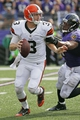 Sep 15, 2013; Baltimore, MD, USA; Cleveland Browns quarterback Brandon Weeden (3) is sacked by the Baltimore Ravens linebacker Daryl Smith (51) at M&T Bank Stadium. Mandatory Credit: Mitch Stringer-USA TODAY Sports
