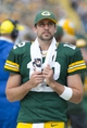 Sep 15, 2013; Green Bay, WI, USA;  Green Bay Packers quarterback Aaron Rodgers (12) looks on during the fourth quarter against the Washington Redskins at Lambeau Field.  Green Bay won 38-20.  Mandatory Credit: Jeff Hanisch-USA TODAY Sports