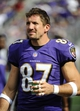 Sep 15, 2013; Baltimore, MD, USA; Baltimore Ravens tight end Dallas Clark (87) on the sidelines against the Cleveland Browns during the second half at M&T Bank Stadium. The Ravens won 14 - 6. Mandatory Credit: Brad Mills-USA TODAY Sports