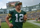 Sep 15, 2013; Green Bay, WI, USA;   Green Bay Packers quarterback Aaron Rodgers runs off the field after the Packers beat the Washington Redskins 38-20 at Lambeau Field. Mandatory Credit: Benny Sieu-USA TODAY Sports