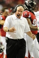 Sep 15, 2013; Atlanta, GA, USA; Atlanta Falcons head coach Mike Smith reacts to the play against the St. Louis Rams during the second half at Georgia Dome. The Falcons defeated the Rams 31-24. Mandatory Credit: Dale Zanine-USA TODAY Sports