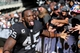 Sep 15, 2013; Oakland, CA, USA; Oakland Raiders fullback Marcel Reece (45) high fives fans in the black hole after the win against the Jacksonville Jaguars at O.co Coliseum. The Oakland Raiders defeated the Jacksonville Jaguars 19-9. Mandatory Credit: Kelley L Cox-USA TODAY Sports