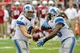 Sep 15, 2013; Phoenix, AZ, USA; Detroit Lions quarterback Matthew Stafford (9) hands off to running back Joique Bell (35) during the second half against the Arizona Cardinals at University of Phoenix Stadium. Mandatory Credit: Matt Kartozian-USA TODAY Sports