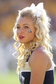 Sep 14, 2013; Pittsburgh, PA, USA; Pittsburgh Panthers cheerleader reacts on the sidelines against the New Mexico Lobos during the fourth quarter at Heinz Field. The Pittsburgh Panthers won 49-27. Mandatory Credit: Charles LeClaire-USA TODAY Sports