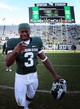 Sep 14, 2013; East Lansing, MI, USA; Michigan State Spartans wide receiver Macgarrett Kings Jr. (3) celebrates win after a game between the Michigan State Spartans and the Youngstown State Penguins at Spartan Stadium. Mandatory Credit: Mike Carter-USA TODAY Sports