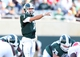 Sep 14, 2013; East Lansing, MI, USA; Michigan State Spartans quarterback Tyler O'Connor (7) during the second half in a game at Spartan Stadium. MSU won 55-17.Mandatory Credit: Mike Carter-USA TODAY Sports