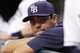 Sep 16, 2013; St. Petersburg, FL, USA; Tampa Bay Rays pitcher Matt Moore (55) in the dugout against the Texas Rangers at Tropicana Field. Tampa Bay Rays defeated the Texas Rangers 6-2. Mandatory Credit: Kim Klement-USA TODAY Sports