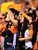 Sep 16, 2013; Cincinnati, OH, USA; Cincinnati Bengals fan cheers in the stands during the fourth quarter against the Pittsburgh Steelers at Paul Brown Stadium. Mandatory Credit: Andrew Weber-USA TODAY Sports