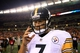 Sep 16, 2013; Cincinnati, OH, USA; Pittsburgh Steelers quarterback Ben Roethlisberger (7) walks off the field after being defeated by the Cincinnati Bengals 20-10 Paul Brown Stadium. Mandatory Credit: Andrew Weber-USA TODAY Sports