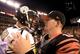 Sep 16, 2013; Cincinnati, OH, USA; Pittsburgh Steelers quarterback Ben Roethlisberger (7) talks with Cincinnati Bengals quarterback Andy Dalton (14) after the Cincinnati Bengals defeated the Pittsburgh Steelers 20-10 at Paul Brown Stadium. Mandatory Credit: Andrew Weber-USA TODAY Sports