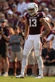 Sep 14, 2013; College Station, TX, USA; Texas A&M Aggies wide receiver Mike Evans (13) lines up against the Alabama Crimson Tide during the second half at Kyle Field. Mandatory Credit: Thomas Campbell-USA TODAY Sports