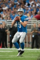 Sep 8, 2013; Detroit, MI, USA; Detroit Lions quarterback Matthew Stafford (9) looks to pass during the third quarter against the Minnesota Vikings at Ford Field. Mandatory Credit: Tim Fuller-USA TODAY Sports