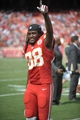 Sep 15, 2013; Kansas City, MO, USA; Kansas City Chiefs wide receiver Junior Hemingway (88) signals to the crowd after the game against the Dallas Cowboys at Arrowhead Stadium. The Chiefs won 17-16. Mandatory Credit: Denny Medley-USA TODAY Sports
