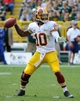 Sep 15, 2013; Green Bay, WI, USA;  Washington Redskins quarterback Robert Griffin III during the game against the Green Bay Packers at Lambeau Field. Mandatory Credit: Benny Sieu-USA TODAY Sports