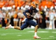 Sep 14, 2013; Syracuse, NY, USA; Syracuse Orange wide receiver Christopher Clark (18) runs with the ball after a catch during the second quarter against the Wagner Seahawks at the Carrier Dome.  Syracuse defeated Wagner 54-0.  Mandatory Credit: Rich Barnes-USA TODAY Sports