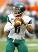 Sep 14, 2013; Syracuse, NY, USA; Wagner Seahawks quarterback Chris Andrews (6) drops back to pass during the third quarter against the Syracuse Orange at the Carrier Dome.  Syracuse defeated Wagner 54-0.  Mandatory Credit: Rich Barnes-USA TODAY Sports