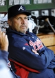 Sep 17, 2013; Washington, DC, USA; Atlanta Braves manager Fredi Gonzalez in the dugout before the game against the Washington Nationals at Nationals Park. Mandatory Credit: Brad Mills-USA TODAY Sports